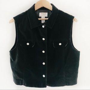 Talbots Petites Velvet Black Vest Size PM